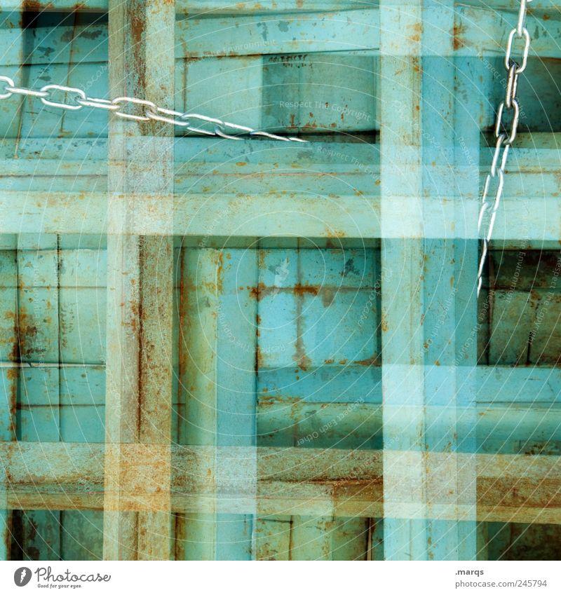 Knot Stil Kette Linie alt außergewöhnlich eckig einfach einzigartig verrückt grün Farbe Perspektive skurril Surrealismus Holz Rost Doppelbelichtung Knoten
