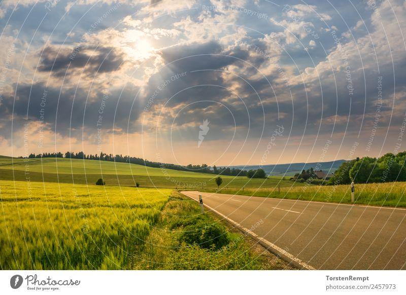 Ausblick in Thüringen Landschaft Sonnenaufgang Sonnenuntergang Sommer Feld Wald Straße blau braun gelb grün orange Allendorf Mittelgebirge Schwarzburg