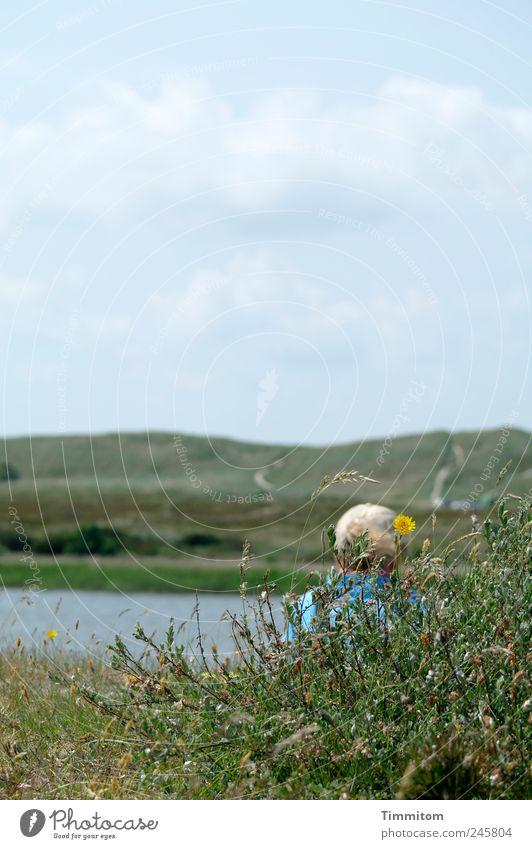 Das aufnehmen und bewahren Frau Mensch Himmel Natur Wasser grün blau Pflanze Sommer Ferien & Urlaub & Reisen ruhig Erholung Gefühle Gras Landschaft See