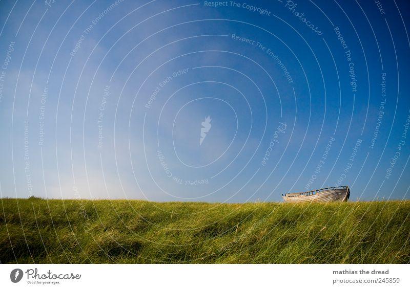 DÄNEMARK - XI Umwelt Natur Landschaft Luft Himmel Wolken Horizont Sommer Schönes Wetter Wind Pflanze Gras Moos Wiese Bootsfahrt Fischerboot alt liegen