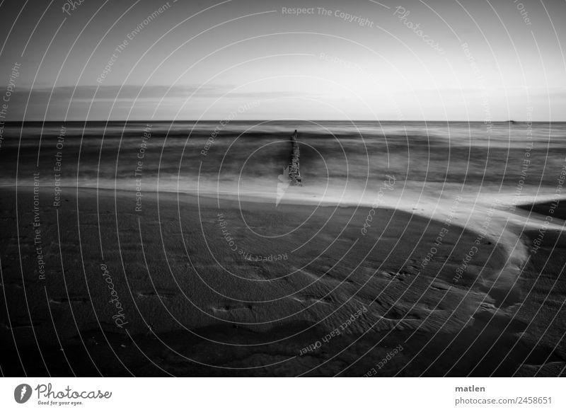 beach Landschaft Sand Wasser Himmel Wolkenloser Himmel Horizont Frühling Schönes Wetter Wellen Küste Strand Ostsee dunkel schwarz weiß Holzpfahl Fußspur