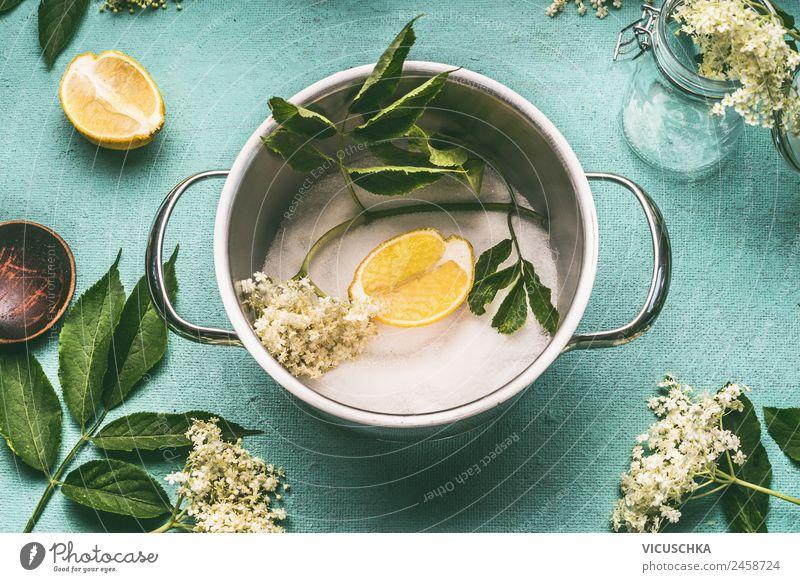 Topf mit Holunderblüten, Zucker und Zitrone Natur Gesunde Ernährung Sommer Gesundheit Lebensmittel gelb Stil Häusliches Leben Design Getränk Essen zubereiten