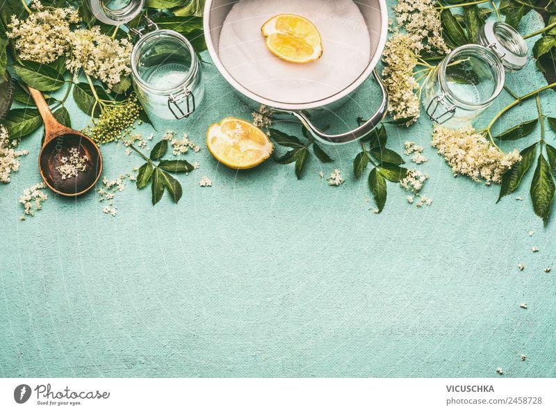 Holunderblüten Sirup Zubereitung Gesunde Ernährung Winter Gesundheit Lebensmittel Hintergrundbild Lifestyle Stil Häusliches Leben Design Glas Getränk