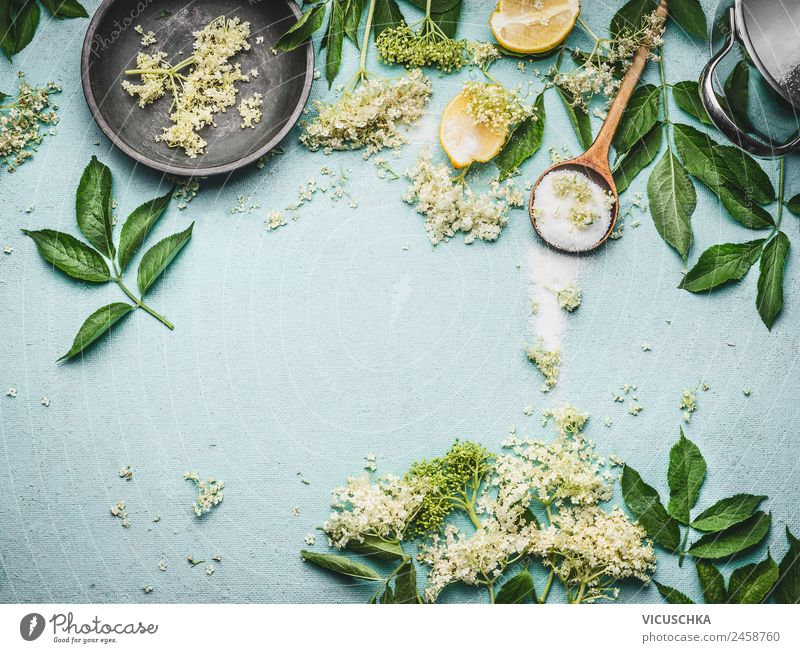 Holunderblüten mit Löffel, Zucker und Zitrone Natur Gesunde Ernährung Sommer Gesundheit Lebensmittel Hintergrundbild Stil Design Schalen & Schüsseln Geschirr