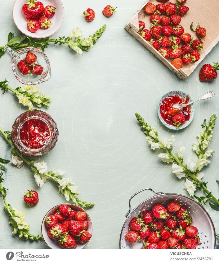 Erdbeeren SommerBlumen und Marmelade Lebensmittel Frucht Dessert Ernährung Bioprodukte Vegetarische Ernährung Geschirr Schalen & Schüsseln Topf Stil Gesundheit