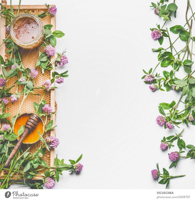 Honig Hintergrund mit Honigwabe und wiilde Blumen Natur Gesunde Ernährung Sommer weiß Foodfotografie Gesundheit gelb Hintergrundbild Blüte Lebensmittel