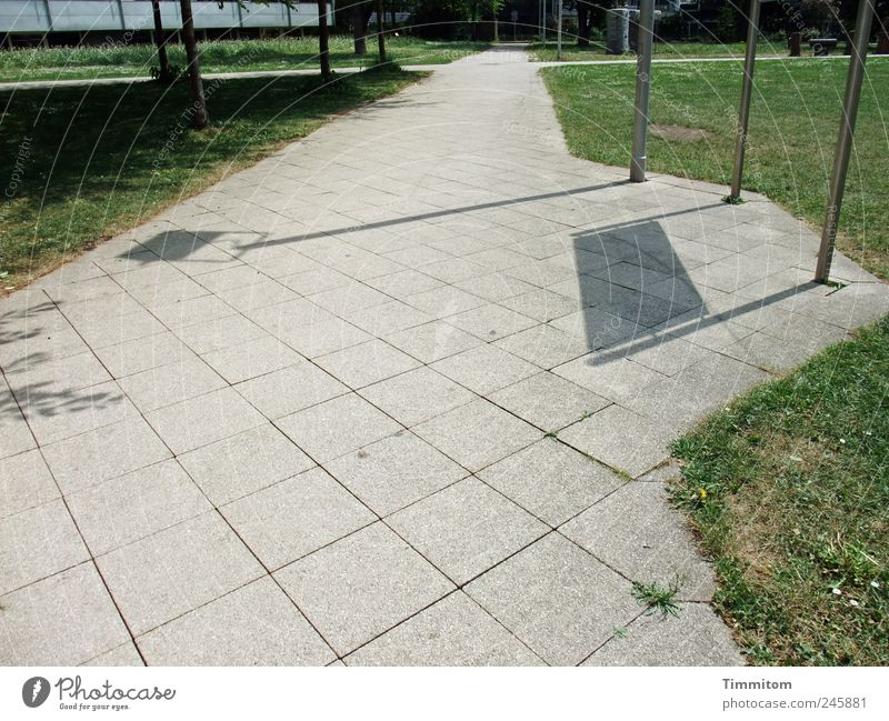 Kleine Entdeckungen (I): Die Erdkrümmung gibt es! Ferne Wiese Gras Wege & Pfade Stein Stimmung Schilder & Markierungen Überraschung Biegung Wegkreuzung