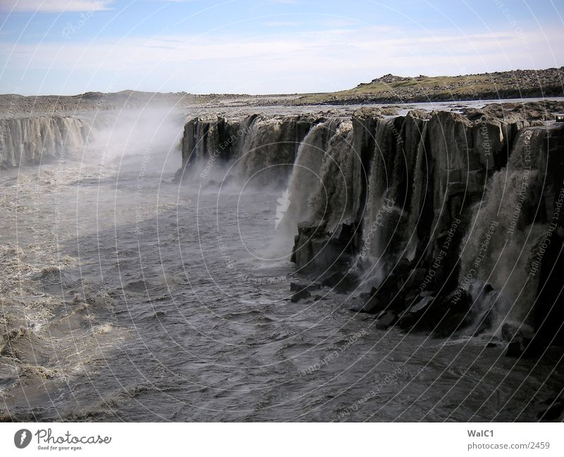 Wasser en masse 01 Natur Kraft Europa Energiewirtschaft Island Wasserfall Umweltschutz Nationalpark unberührt