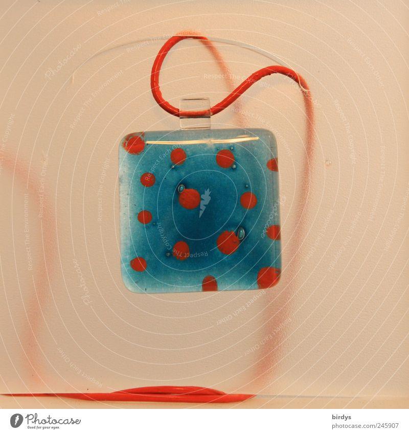 Arts and crafts schön blau rot Stil Kunst elegant Glas Design ästhetisch Schnur Quadrat Kreativität Schmuck Ausstellung Originalität Präsentation