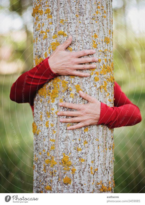 Frau Mensch Natur Jugendliche Junge Frau Landschaft Hand Baum Einsamkeit Wald Erwachsene Leben Umwelt Liebe natürlich Gefühle