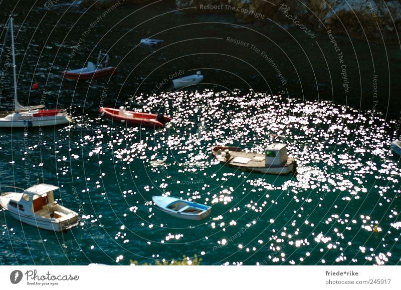 sail away with me Wasser blau weiß rot Meer ruhig Freizeit & Hobby warten Ausflug liegen fahren Hafen Angeln Segelboot Ruderboot Wasserfahrzeug