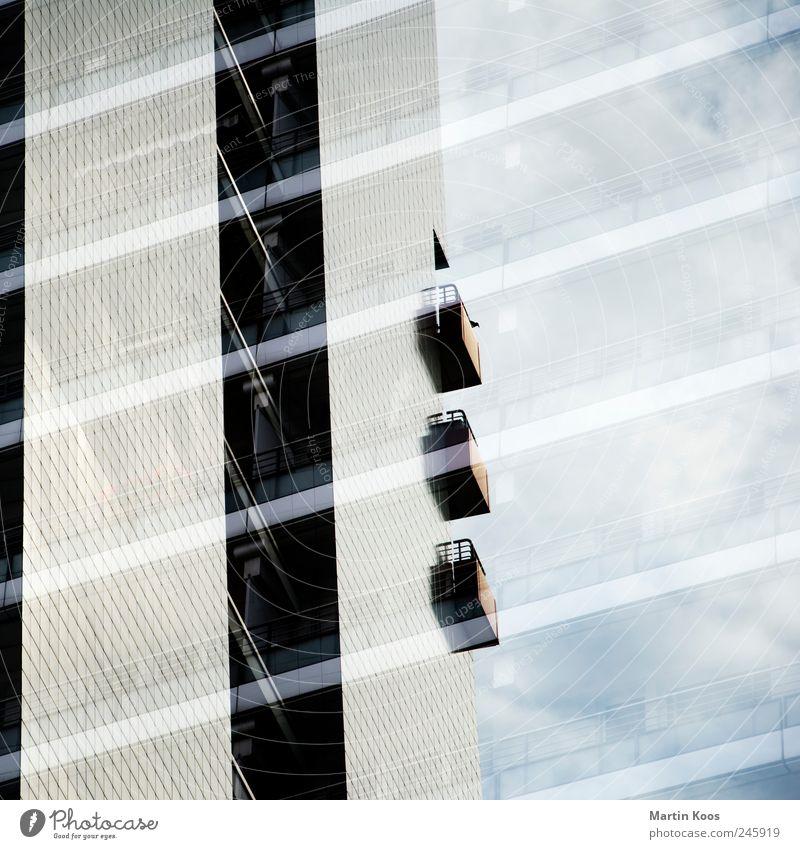 Streifzüge blau Haus Ferne kalt grau Architektur Linie Zeit Design Hochhaus Ordnung planen Geschwindigkeit Perspektive modern