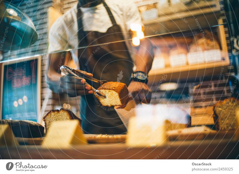 Mann schwarz Erwachsene Glück Business klein Arbeit & Erwerbstätigkeit frisch Lächeln lecker Frühstück Café Dessert selbstbewußt Backwaren Stolz