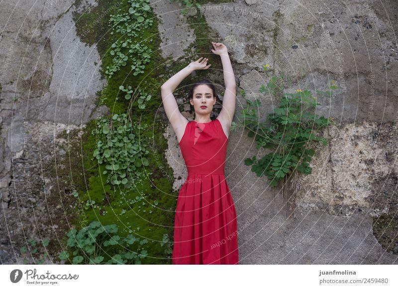 Porträt eines Mädchens in rotem Kleid elegant schön Gesicht Schminke Sommer Mensch Junge Frau Jugendliche Erwachsene 18-30 Jahre Natur Mode klein natürlich