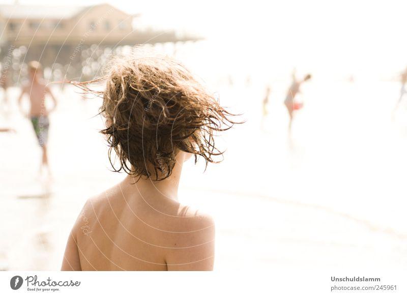 Summer is back Mensch Jugendliche Ferien & Urlaub & Reisen Meer Sommer Strand Freude Erholung Leben Wärme Junge Haare & Frisuren Kopf Menschengruppe hell