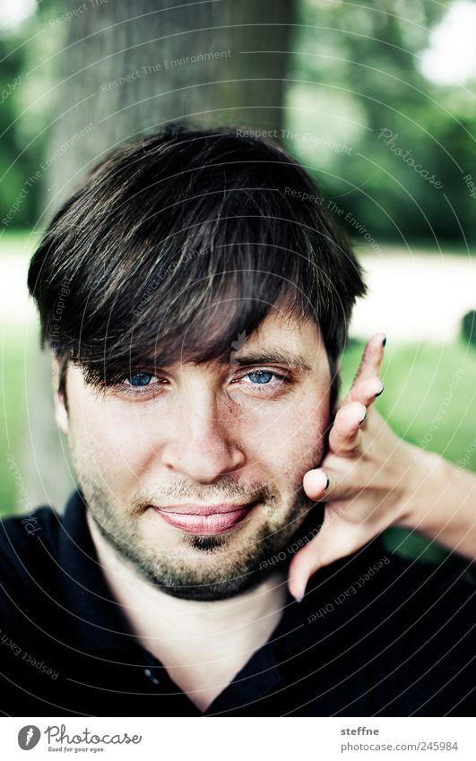 steffne heute mal Mensch maskulin Junger Mann Jugendliche Erwachsene Kopf Bart 1 grün lustig Park Farbfoto Außenaufnahme Schwache Tiefenschärfe Porträt