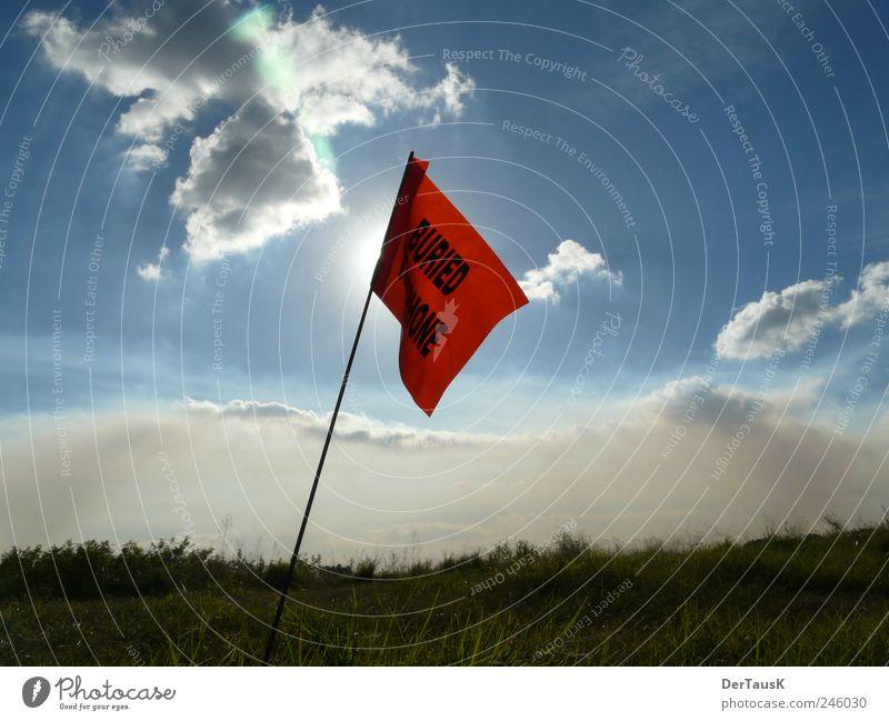 Buried Telephone Florida Himmel Natur blau rot Sonne Sommer Ferien & Urlaub & Reisen Einsamkeit Freiheit Landschaft Feld Horizont Schilder & Markierungen