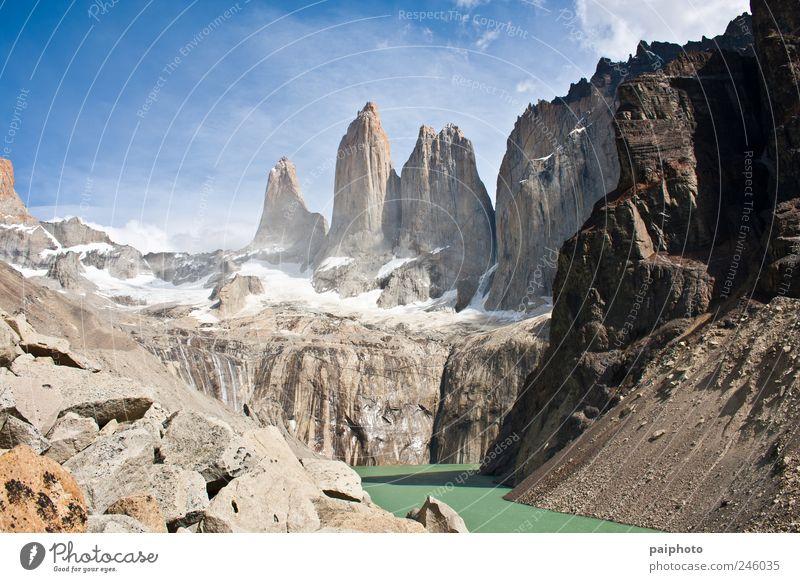Torres del Paine Landschaft Wolkenloser Himmel Sommer Schönes Wetter Berge u. Gebirge Gipfel Chile Amerika kalt wild friedlich ruhig Torres del Paine NP