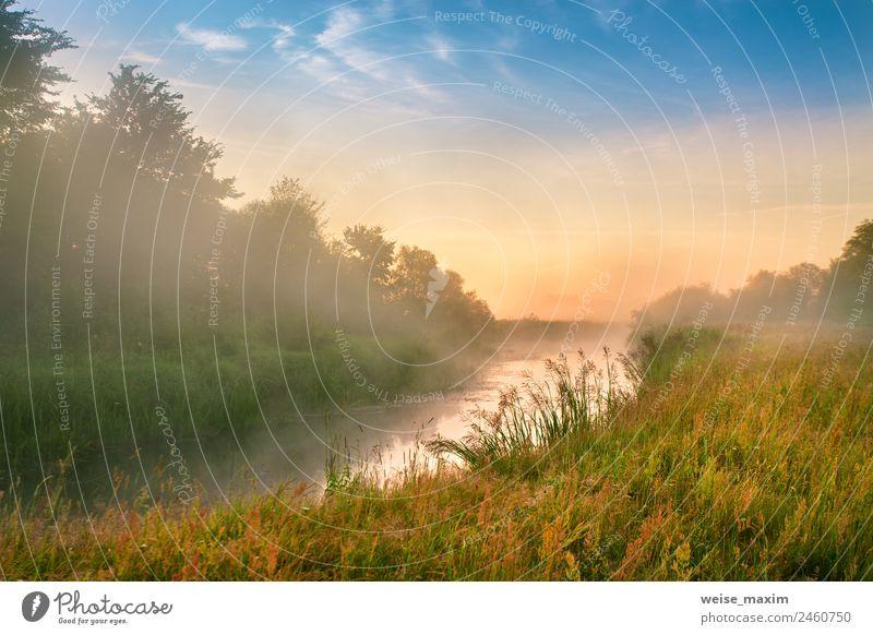 Morgens nebliger Fluss. Sommer nebliger Sonnenaufgang schön Ferien & Urlaub & Reisen Natur Landschaft Wassertropfen Himmel Wolken Sonnenuntergang Herbst