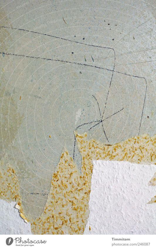 Kleine Entdeckungen (IV): Des Baumeisters geheime Botschaft weiß Wand grau Mauer Linie ästhetisch authentisch Häusliches Leben Neugier Zeichen Tapete Renovieren achtsam Erneuerung Strukturen & Formen Raufasertapete