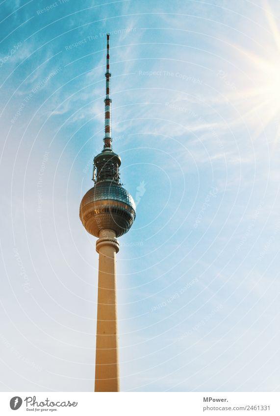berliner fernsehturm Hauptstadt Bauwerk Antenne Sehenswürdigkeit Wahrzeichen hoch Fernsehturm Berliner Fernsehturm Tourismus Sonne Funkturm Kugel
