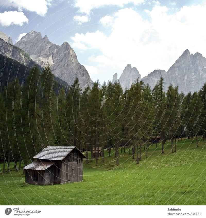Wanderurlaub Himmel Natur Baum grün Pflanze Ferien & Urlaub & Reisen ruhig Haus Wald Erholung Wiese Berge u. Gebirge Gras Umwelt wandern Felsen