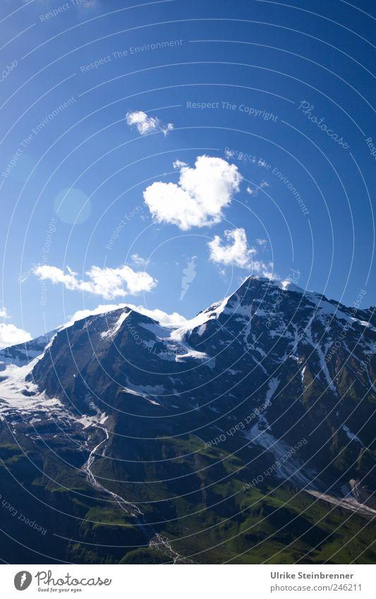 Rauchzeichen Umwelt Natur Landschaft Himmel Wolken Sonnenlicht Sommer Schönes Wetter Schnee Baum Gras Sträucher Wald Felsen Alpen Berge u. Gebirge