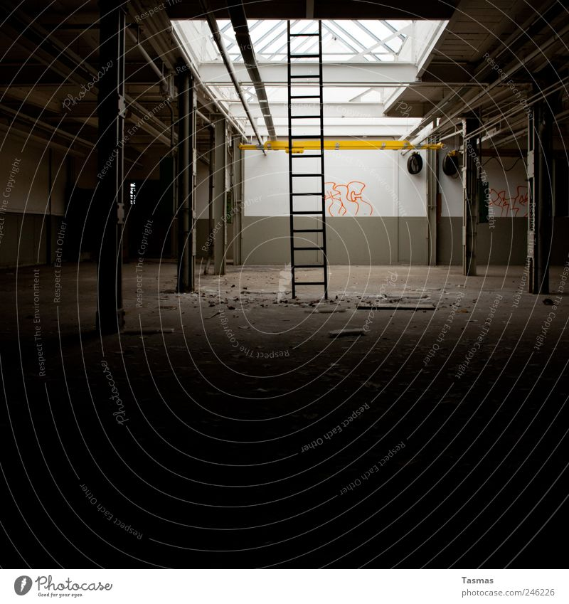 Sternenweg zum Hafen Haus Industrieanlage Fabrik Mauer Wand Treppe Wahrzeichen beobachten alt authentisch dreckig dunkel Neugier Stimmung Verfall Vergangenheit