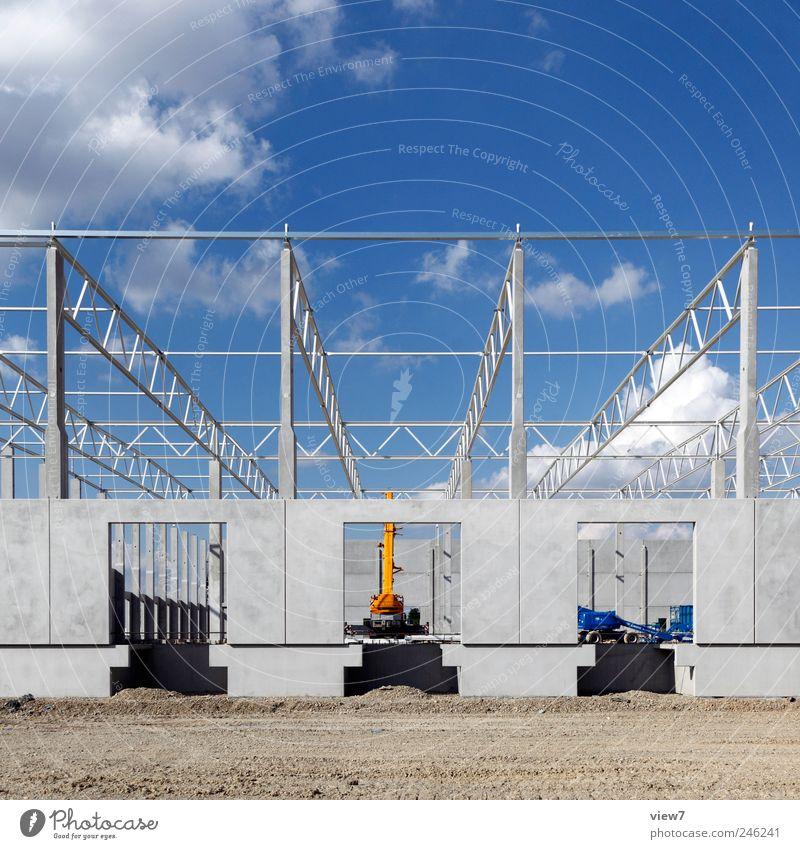 Neubau Handwerker Arbeitsplatz Baustelle Güterverkehr & Logistik Landschaft Himmel Klima Schönes Wetter Haus Industrieanlage Fabrik Bauwerk Gebäude Mauer Wand