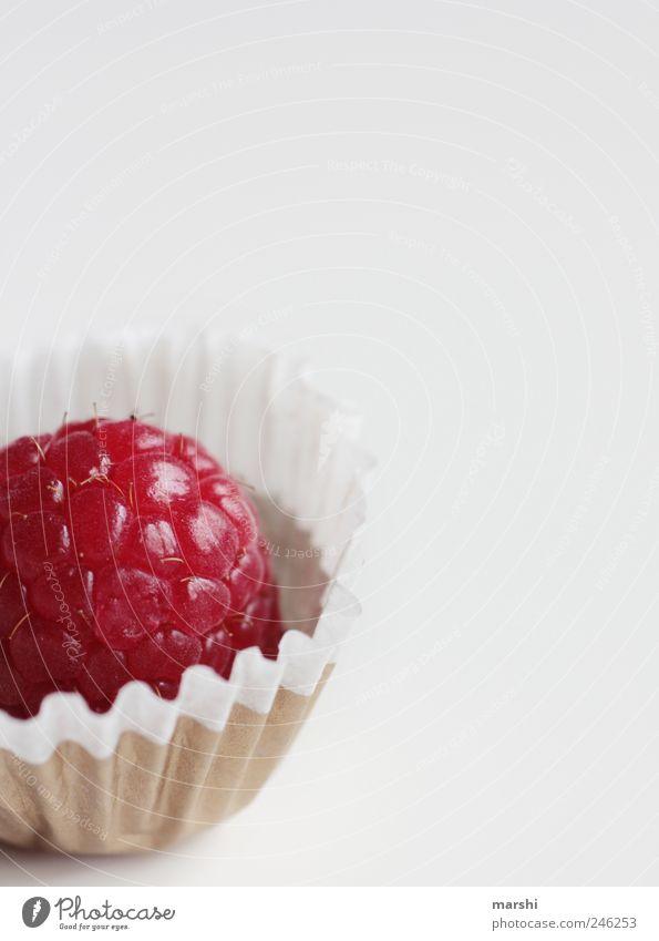 Himbeer-Praline Lebensmittel Frucht Süßwaren Ernährung Fingerfood rot Freisteller Konfekt Himbeeren lecker geschmackvoll Foodfotografie weiß Appetit & Hunger