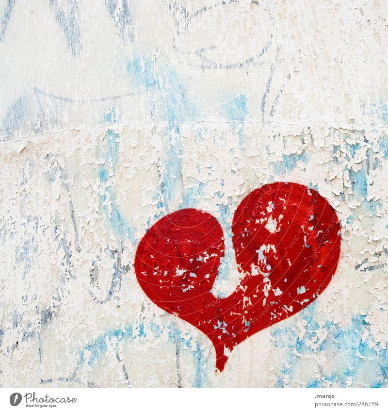Herz alt weiß schön blau rot Liebe Farbe Gefühle Graffiti Herz Zusammensein Romantik Zeichen Lebensfreude Partnerschaft Zusammenhalt