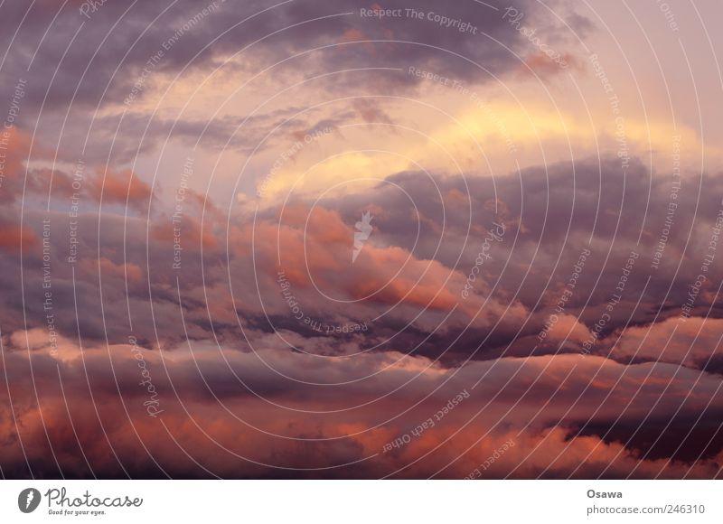 Wetter Urelemente Luft Himmel Wolken Gewitterwolken Sonnenaufgang Sonnenuntergang Klima schlechtes Wetter Unwetter Todesangst rot orange violett blau gelb