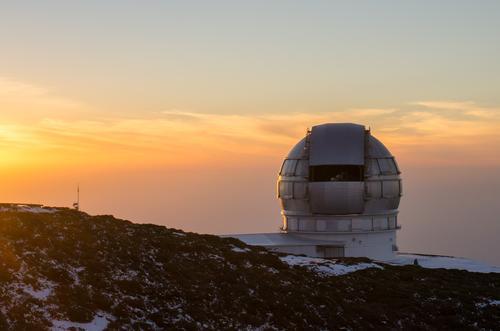 Himmel Ferien & Urlaub & Reisen ruhig Winter Schnee Insel Abenteuer entdecken Unendlichkeit Spanien Gelassenheit Teleskop Observatorium La Palma