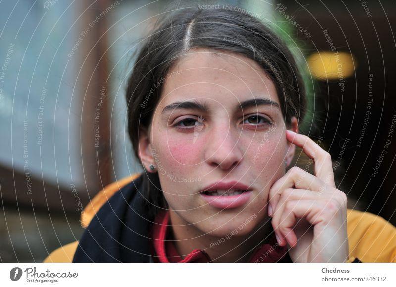 Grübeleien Frau Mensch Jugendliche schön Gesicht feminin sprechen Kopf Denken Erwachsene Kommunizieren Konzentration Jacke nachdenklich Restaurant