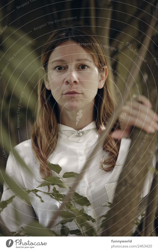 Ernste Frau mit weißer Bluse schaut durch Äste Mensch feminin Erwachsene 1 30-45 Jahre Haare & Frisuren brünett langhaarig Scheitel beobachten Enttäuschung