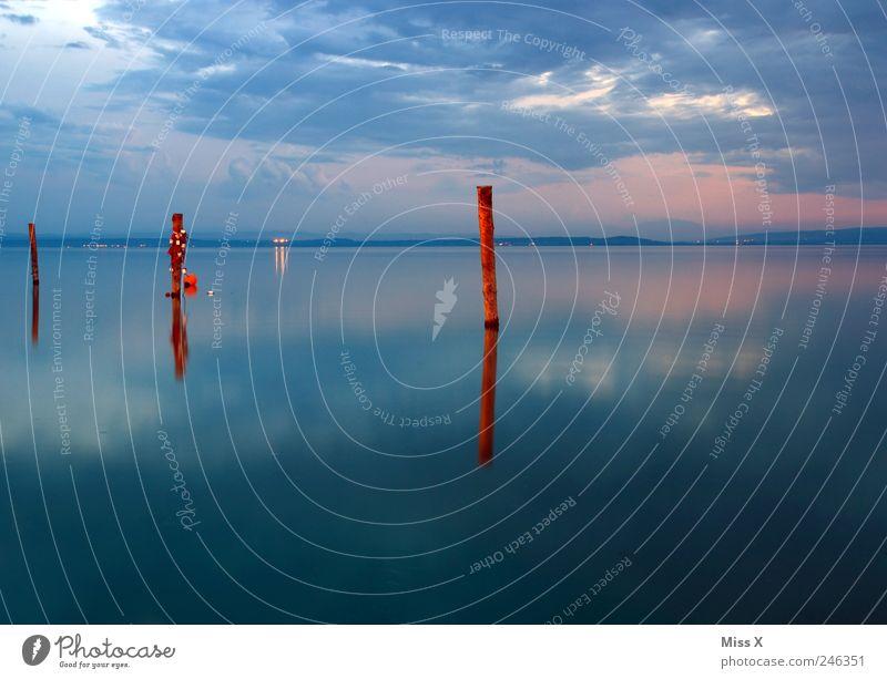 Steg Wasser blau Sommer Meer Ferien & Urlaub & Reisen Wolken Ferne Stimmung Küste See Horizont Insel Schifffahrt Anlegestelle Österreich Sommerurlaub
