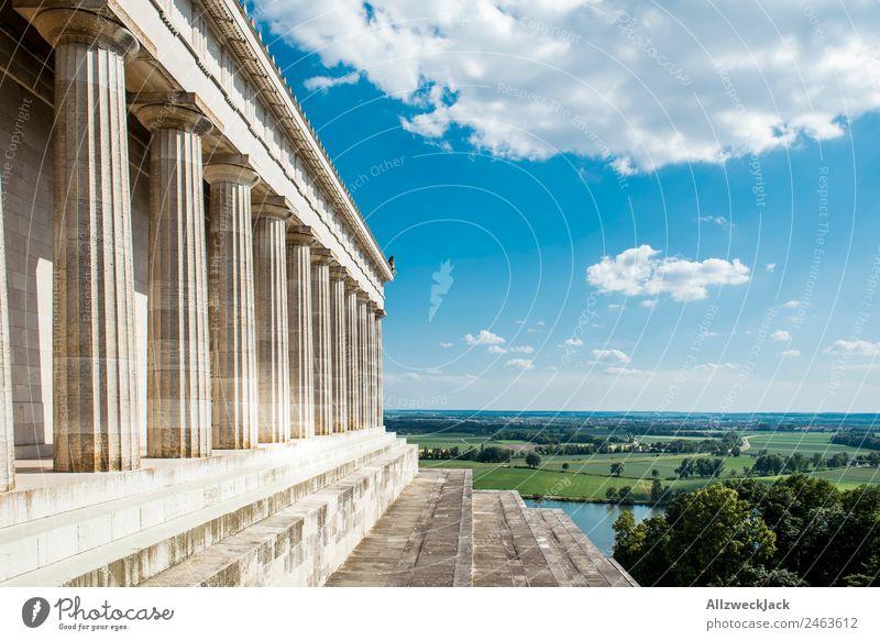 Blick vom Walhalla in Regensburg Deutschland Sehenswürdigkeit Säule Aussicht Ferne Panorama (Aussicht) Donau Schönes Wetter Sommer Ferien & Urlaub & Reisen
