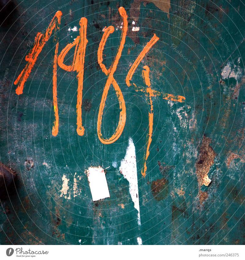 1984 alt grün Farbe dunkel Wand Stil Graffiti Mauer orange Angst dreckig Coolness Schriftzeichen Macht Kultur Zeichen