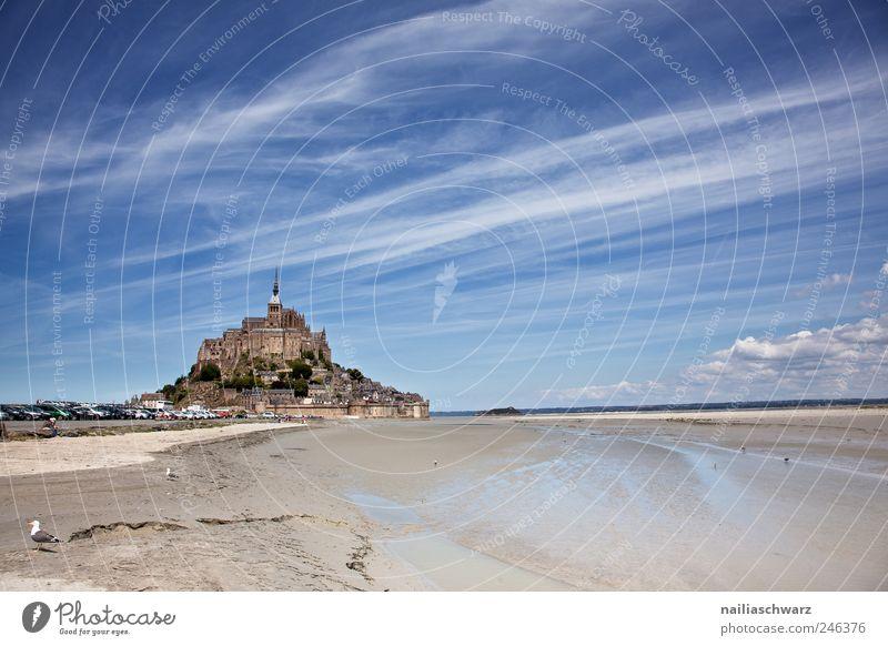 Mont Saint Michel Ferien & Urlaub & Reisen Tourismus Sightseeing Meer Insel Insel Mont-Saint-Michel Bretagne Normandie Frankreich Europa Landschaft Himmel