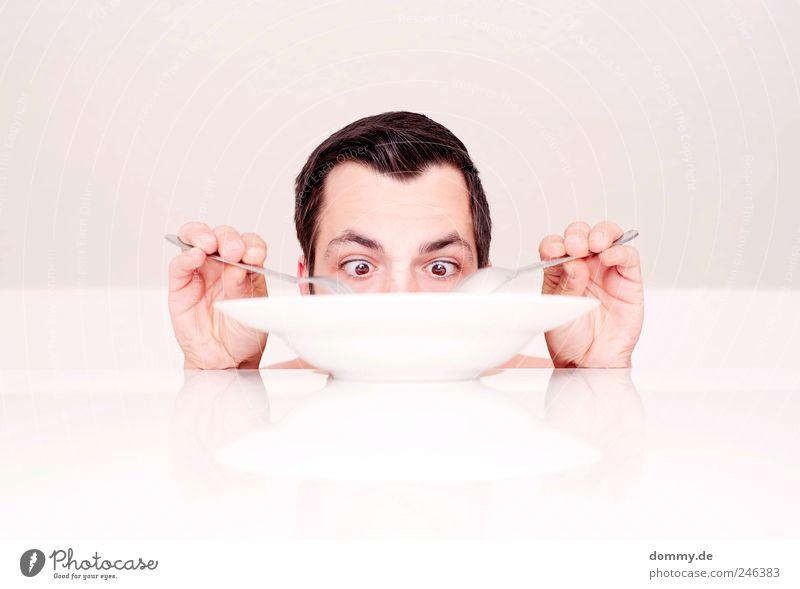 naked lunch 2 maskulin Mann Erwachsene Haut Kopf Haare & Frisuren Gesicht Auge Ohr Nase 1 Mensch 18-30 Jahre Jugendliche Essen Teller Tisch Löffel Gabel