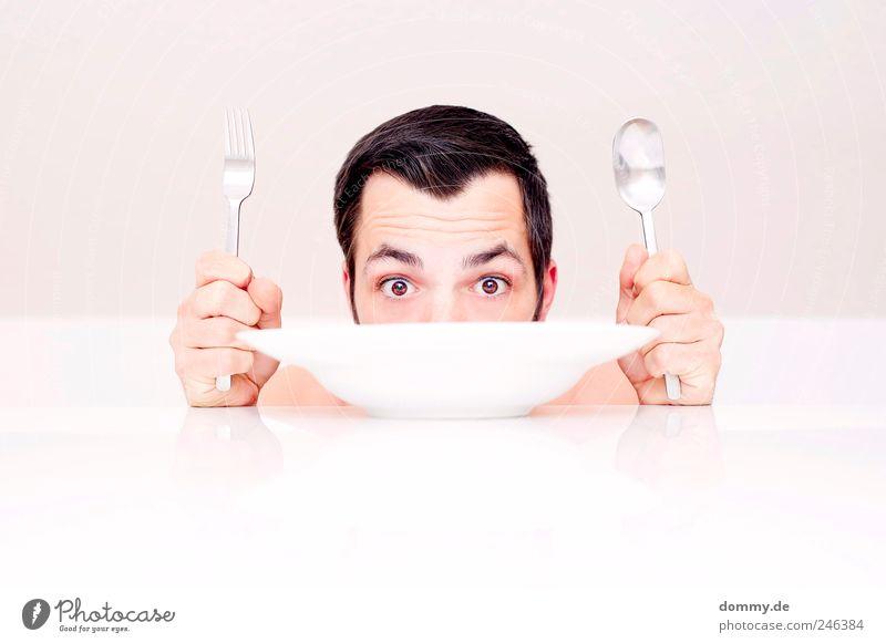 naked lunch 3 maskulin Haut Kopf Haare & Frisuren Gesicht Auge Ohr Nase 1 Mensch 18-30 Jahre Jugendliche Erwachsene Essen Teller Tisch Löffel Gabel Scheitel