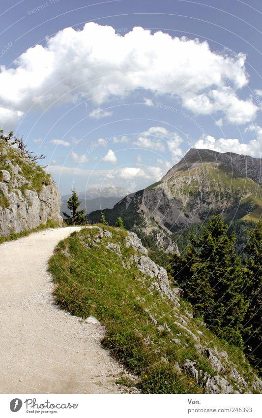 auf langen Pfaden Himmel Natur blau grün schön Sommer Ferien & Urlaub & Reisen Wolken Ferne Freiheit Landschaft Berge u. Gebirge Gras Wege & Pfade gehen Felsen