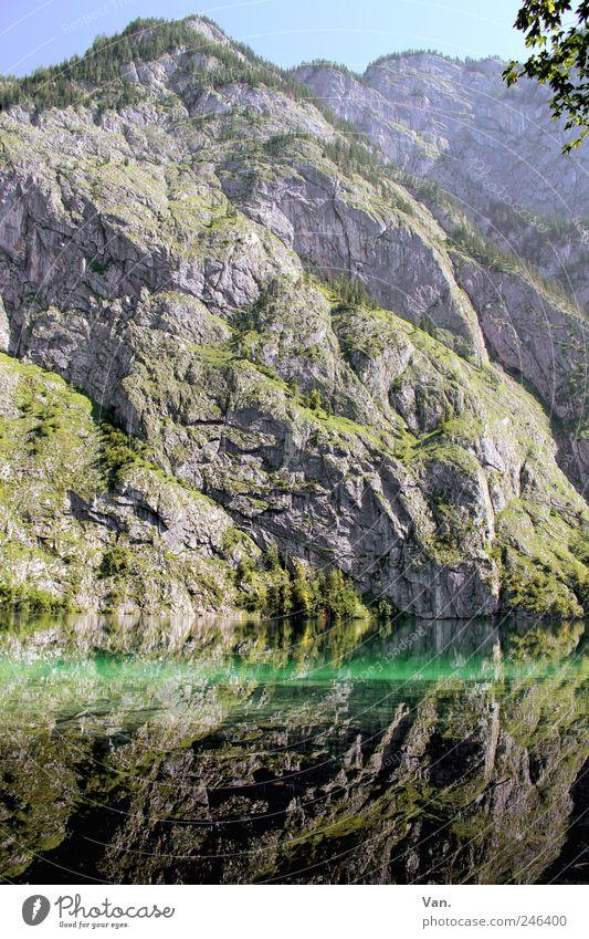 Berg-See Natur Ferien & Urlaub & Reisen blau grün schön Sommer Erholung Landschaft ruhig Berge u. Gebirge Gras Felsen Zufriedenheit Idylle Sträucher