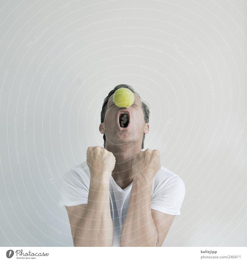 großes tennis Mensch Mann Hand Freude Erwachsene Leben Kopf Feste & Feiern Arme Nase maskulin Erfolg T-Shirt Ball schreien Sportveranstaltung