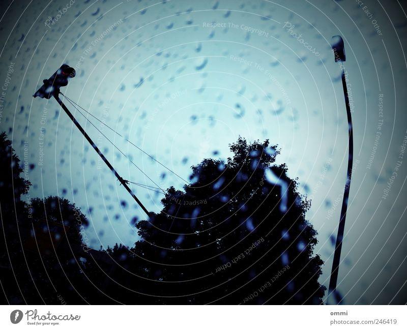 Regen an der Scheibe Landschaft Wassertropfen Himmel schlechtes Wetter Baum Autofahren Ampel Glas dunkel kalt nass trist blau Vignettierung Gedeckte Farben