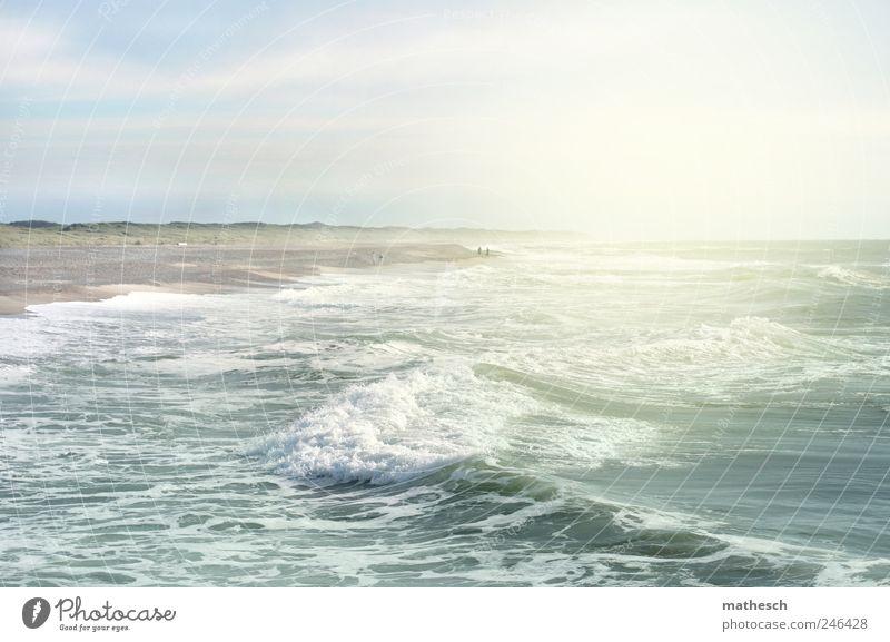 strandlicht Himmel Natur Wasser blau weiß Sommer Strand Meer Wolken Wärme Küste Luft hell Wellen Urelemente Nordsee