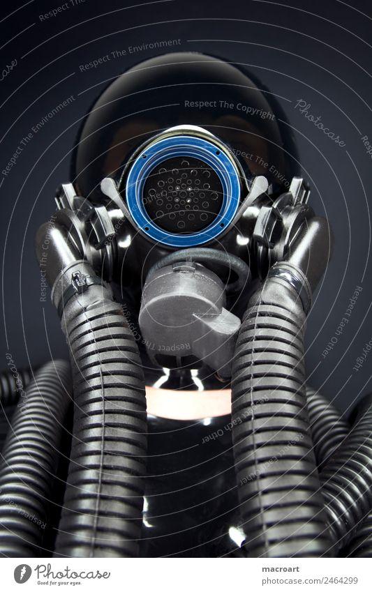 Maske Fetischismus Visier Reflexion & Spiegelung Schlauch blau schwarz Porträt Latex Cat Suit ringlicht Sexualität Gesicht Erotik