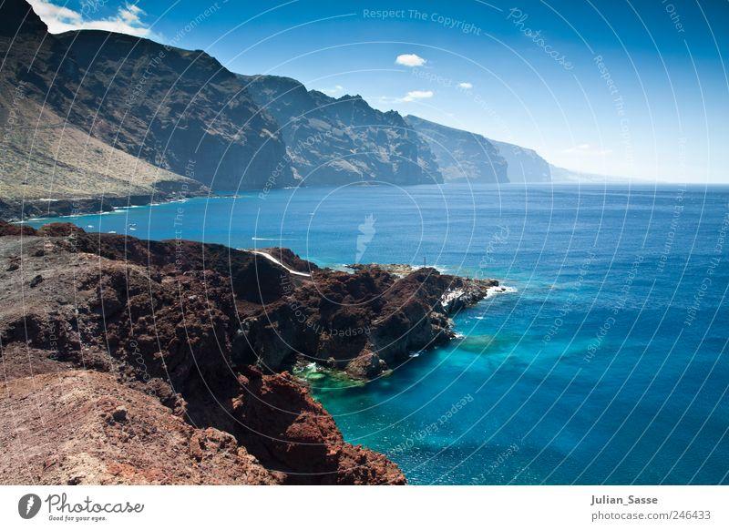 Natürlich blau! Umwelt Natur Landschaft Sand Wasser Himmel Wolken Horizont Sommer Schönes Wetter Bucht Riff Meer Insel Teneriffa Ferien & Urlaub & Reisen