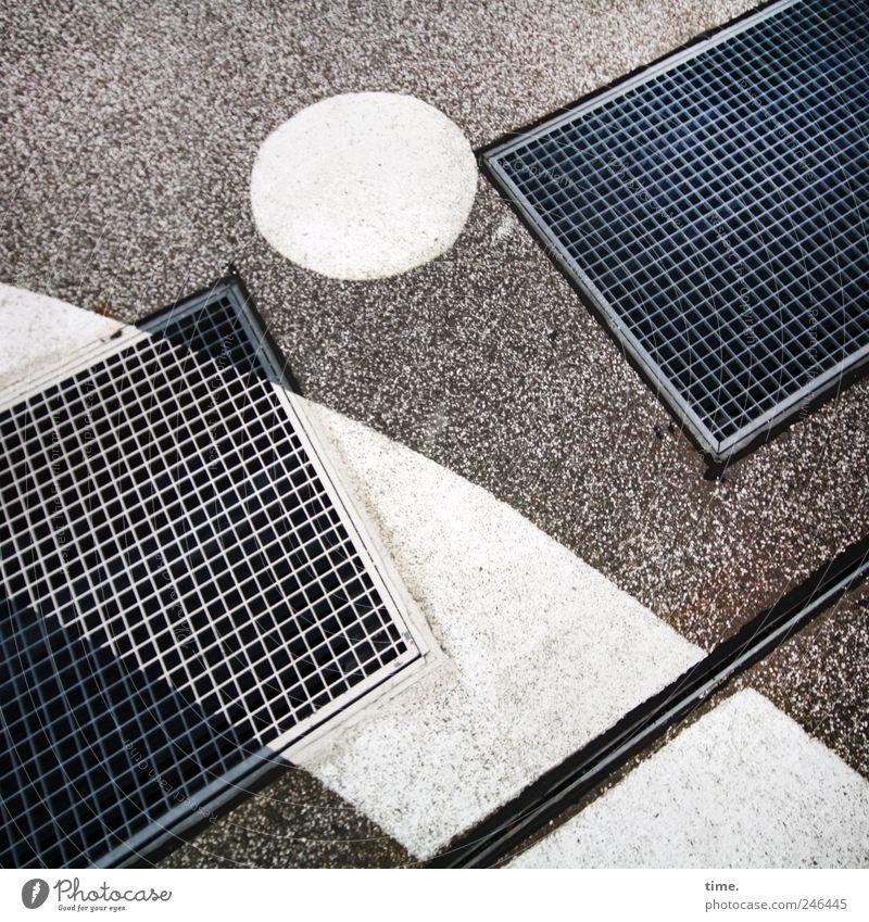 StreetArt weiß Farbe Farbstoff Kunst Beton Boden Kreis Bodenbelag Asphalt Gitter Zeichnung Untergrund Leiste Schacht