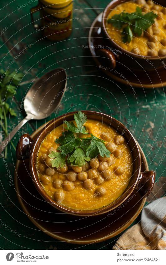 Karottensuppe Lebensmittel Gemüse Suppe Eintopf Möhre Kichererbsen Petersilie Ernährung Essen Mittagessen Abendessen Bioprodukte Vegetarische Ernährung Diät